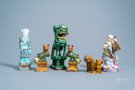 A varied collection of Chinese sancai glazed lions and twee famille rose figures, Ming and later