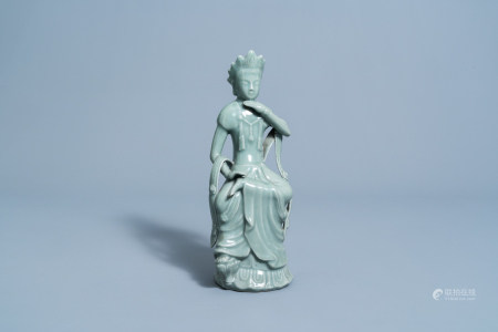 A Chinese longquan celadon glazed figure of a Bodhisattva, Yuan or later