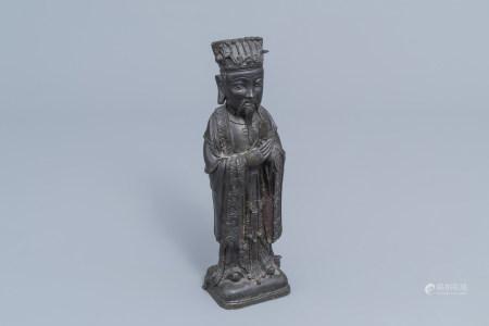 A Chinese bronze figure of Wenchang Wang, Qing