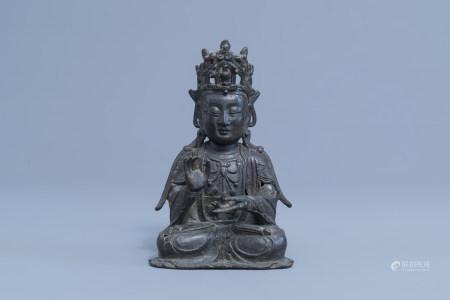 A Chinese bronze figure of Buddha, Ming