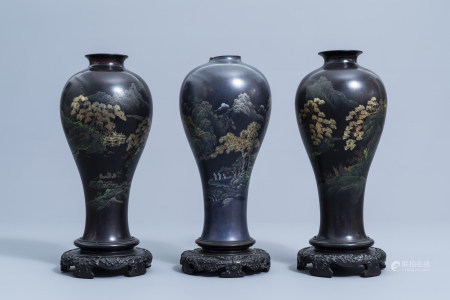 Three Chinese Shen Shao'an style decorated lacquer vases, 20th C.