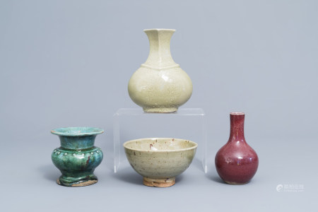 Three Chinese monochrome vases and a bowl, Ming and later