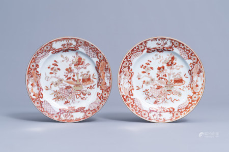 A pair of Chinese milk and blood 'antiquities' plates, Yongzheng