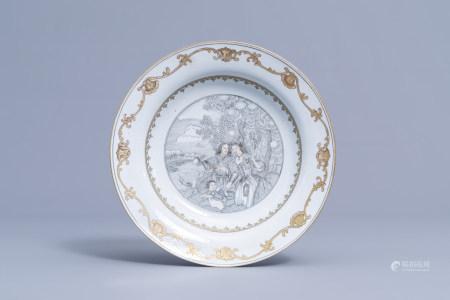 A Chinese grisaille and gilt 'Le depart des pelerins pour l'île de Cythere' plate, Qianlong