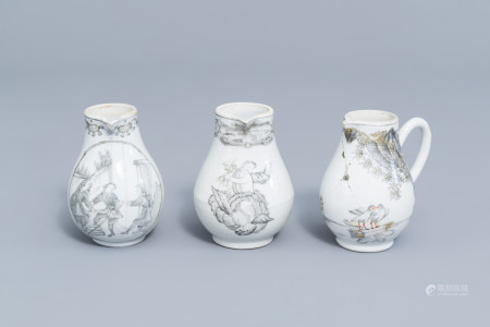 Three various Chinese grisaille and gilt milk jugs, Qianlong