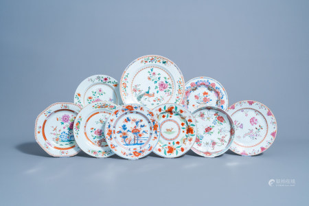 Nine various Chinese famille rose, famille verte and Imari style dishes with floral design, Kangxi/Qianlong