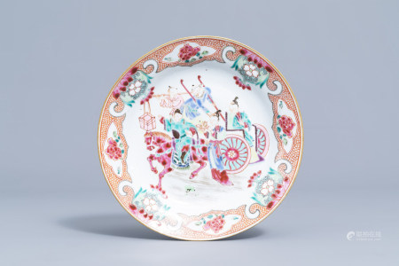 A Chinese famille rose plate with figures around a horse and carriage, Yongzheng