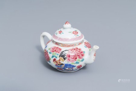 A Chinese famille rose 'rooster' teapot and cover, Yongzheng