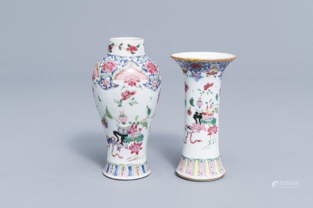 Two Chinese famille rose vases with antiquities and floral design, Yongzheng