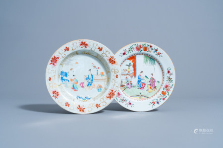 Two Chinese famille rose plates with ladies on a terrace, Yongzheng/Qianlong