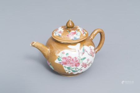 A Chinese famille rose Batavian ware teapot and cover with floral design, Qianlong