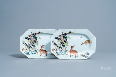 A pair of Chinese famille rose 'water buffalo' chargers with floral design, Qianlong