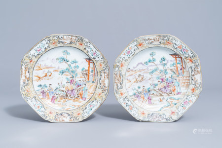 A pair of octagonal Chinese famille rose 'Mandarin' plates, Qianlong