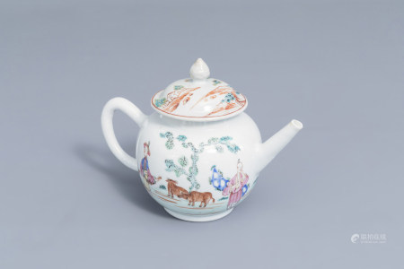 A Chinese famille rose teapot and cover with figures and buffalos in a landscape, Qianlong