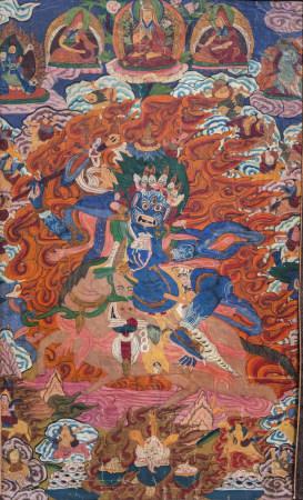 A 'horse riding Mahakala' thangka, Tibet, 19th/20th C.