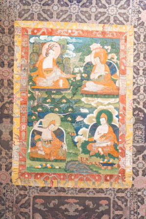 A thangka with four Arhats, Tibet, 19th C.