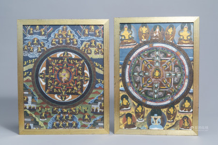 Two 'mandala' thangkas, Tibet or Nepal, 20th C.