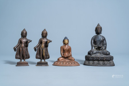 Four bronze figures of Buddha, China and Southeast Asia, 19th/20th C.