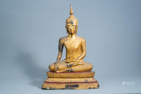 A large Thai gilt lacquered bronze figure of Buddha Maravijaya on a lotus throne, Rattanakosin, 18th/19th C.