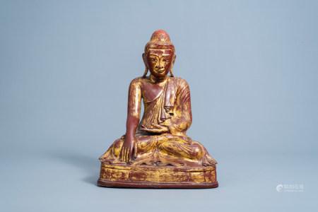 A large gilt and lacquered bronze Buddha figure, Burma, Mandalay period, 19th C.