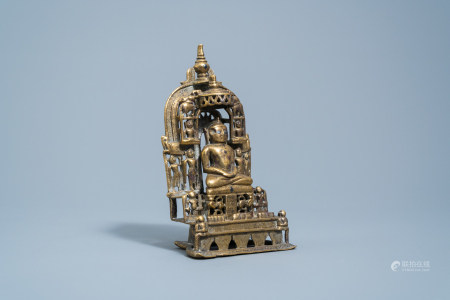 An Indian silver inlaid and inscribed bronze Jain shrine, 19th C. or older