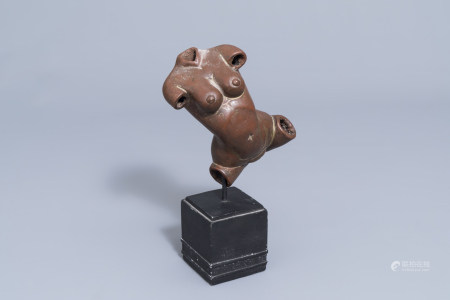 An Indian patinated copper fertility figure with text, 20th C.