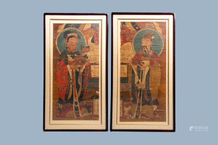 Korean school, ink and colours on paper, Joseon, 19th C.: Two Immortals
