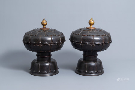 A pair of lotus-shaped gilt-lacquered wood 'tenong' or marriage boxes, Palembang, Indonesia, 19th/20th C.