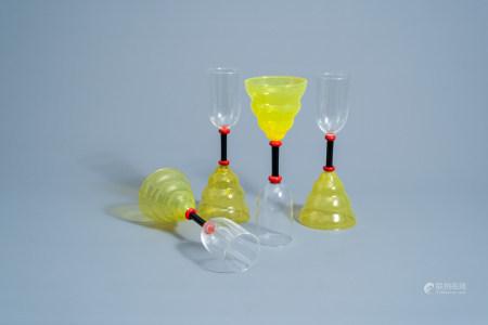 Marco Zanini (1954): Four 'Vega' Murano glass glasses for Memphis Milano by Toso Vetri d'Arte, [1982]