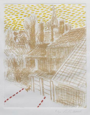 Roger Raveel (1921-2013): 'De spanning van de rust in het dorp', etching in colours, ed. 5/30, (1975)