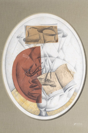 Elzinger (19th/20th C.): Still life, collage and mixed media on paper, dated (19)17