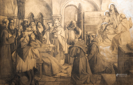 Belgian school: The last breath of Saint Francis, pencil heightened with white on paper, 19th/20th C.