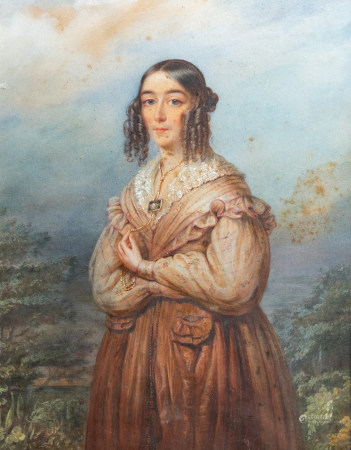 Illegibly signed: A portrait of a lady, gouache on paper, dated 1840