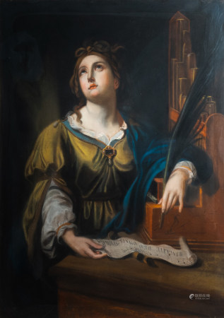 Illegibly signed, after Simon Vouet (1590-1649): Saint Cecilia, pastel on paper marouflated on canvas, dated (18)64