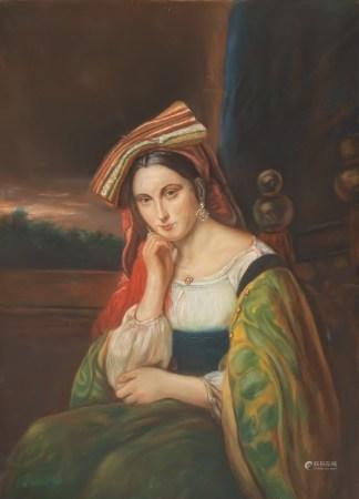 Italian school, Ducore: A portrait of an Eastern beauty, pastel on paper, 19th/20th C.