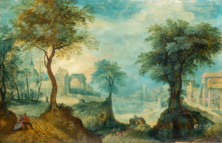 Attributed to Anton Mirou (1578-1621/1627): An animated village landscape, oil on copper