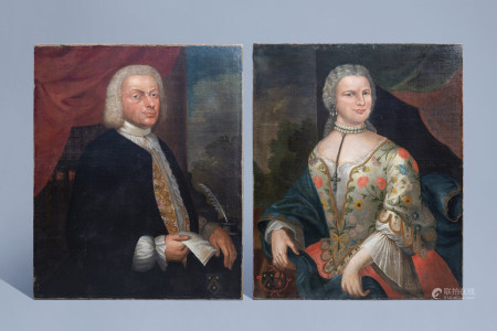 French school: Portrait of a gentleman and a lady, oil on canvas, dated 1744