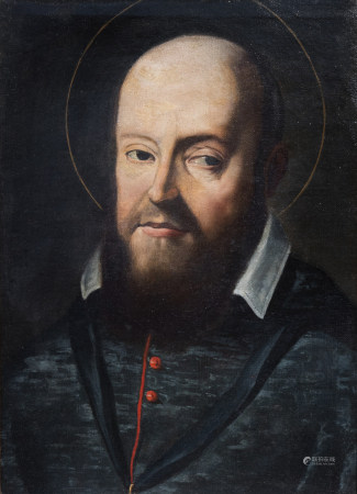 Flemish School: Saint Ignatius of Loyola, oil on canvas, 17th/18th C.