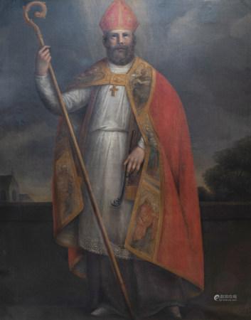 European school: Saint Fridianus, oil on canvas, 18th C.