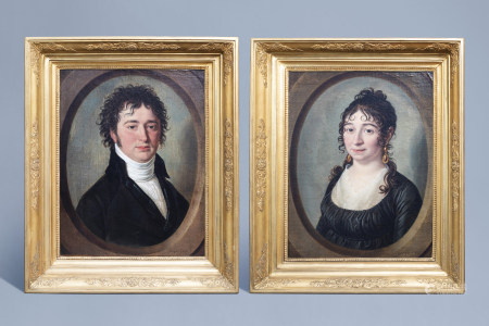 François Jacquin (1756-1826): Portraits of L.B. Nillis and his wife Jeanne Marie Carolina Van Meerbeeck, oil on canvas, dated 1801