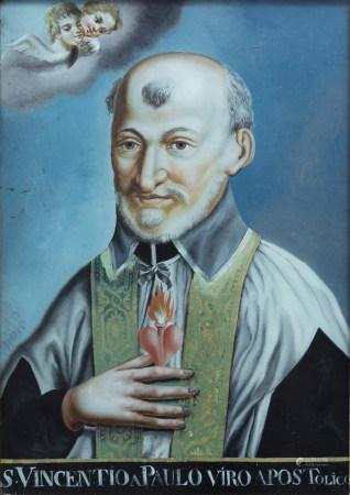 Swiss school, Franz Josef Jenny (18th/19th C.): 'S. Vincentio a Paulo viro Apostolico', reverse glass painting