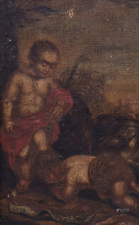 Flemish school, after Peter Paul Rubens (1577-1640): The Christ-child and John the Baptist as child in a landscape, oil on canvas, 17th/18th C.