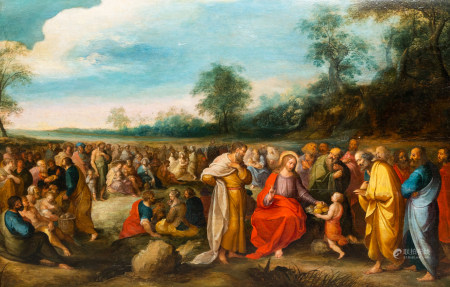 Flemish school, attributed to Frans Francken II (1581-1642) and workshop: The multiplication of the loaves, oil on panel, 17th C.