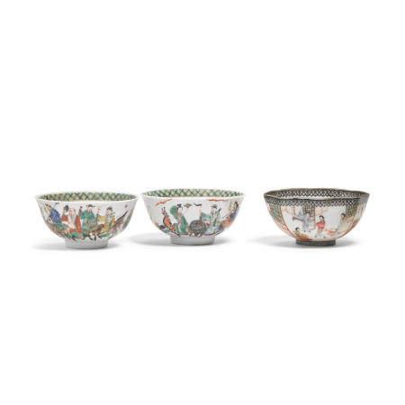 Three enameled porcelain bowls  Late QingRepublic period (3)