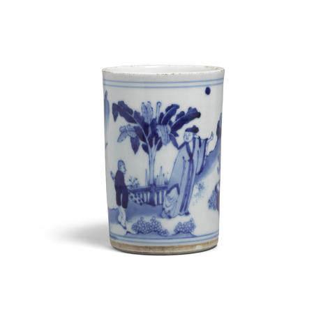 A small blue and white porcelain brush pot  Kangxi period