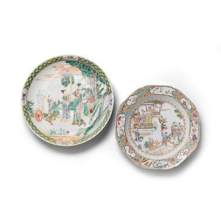 Two enameled porcelain 'figural' plates 18th19th century (2)