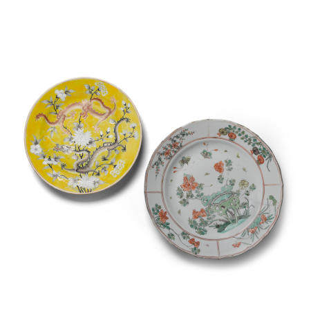 Two enameled porcelain plates  First plate Xielin Zhuren zao mark, Daoguang periodSecond plate Kangxi period (2)