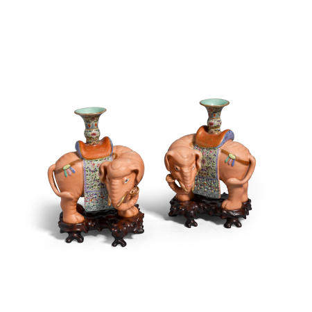 A pair of famille rose enameled porcelain candle holders  Late QingRepublic period (2)