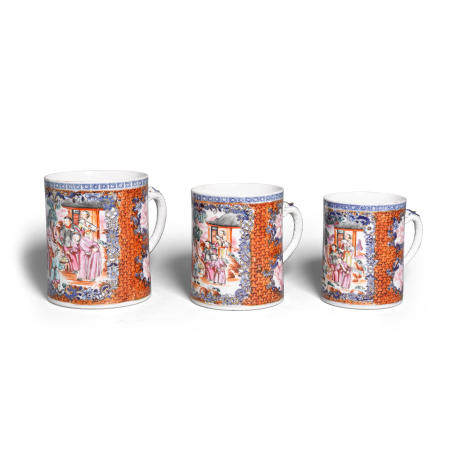 A group of three famille rose Chinese export porcelain mugs  18th century (3)