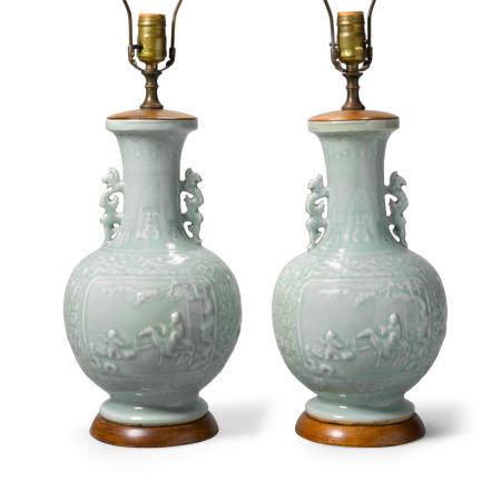 A pair of celadon glazed porcelain vases  Qianlong marks, Late QingRepublic period (2)